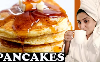 pancakes, Cook pan cakes easy at home, breakfast ideas, bacon, scrambled eggs!